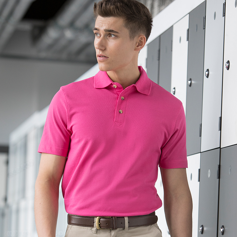 Classic cotton piqué polo with stand-up collar HB100